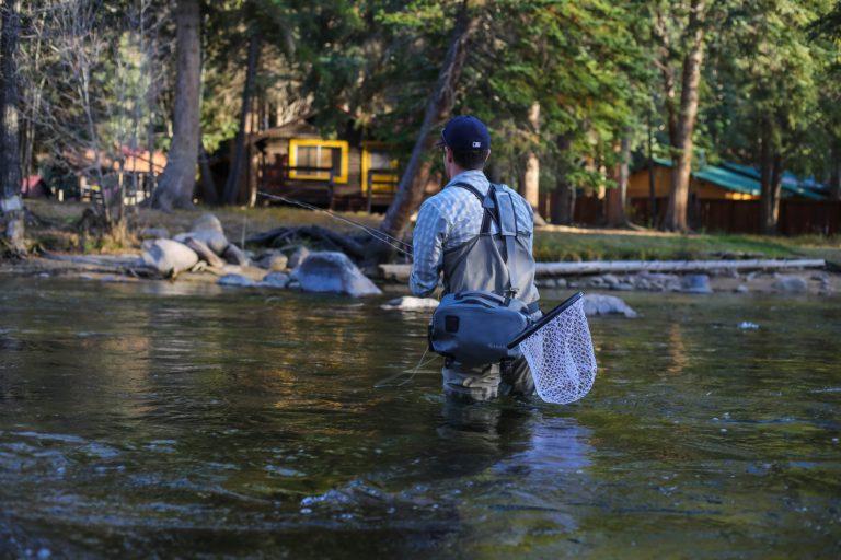 Fly Angler in his Waders Knee Deep in Water.