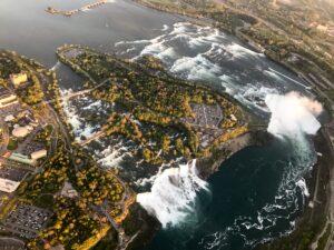 Ariel view of the fishing waters at Niagara Falls, Ontario Canada.