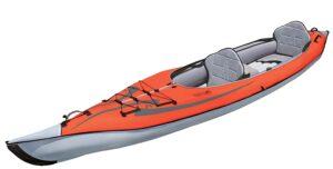 Advanced frame orange 2 person inflatable kayak.