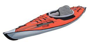 Advanced frame orange inflatable kayak.